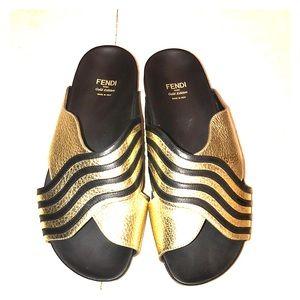 Fendi gold edition sandals SIZE 37.5